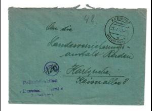 Polizeidirektion Freiburg - Gebühr bezahlt - 1948 nach Karlsruhe