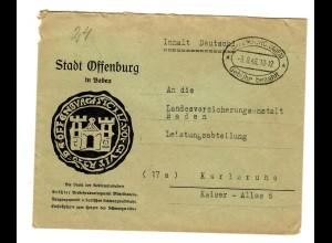 Stadt Offenburg, Gebühr bezahlt 1946 nach Karlsruhe