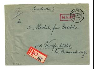 Einschreiben Bad Pyrmont, Gebühr bezahlt, 20.4.1946 nach Wolfenbüttel