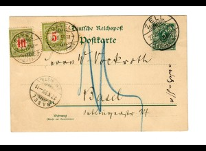 Postkarte 1899: Zell/Wiesenthal nach Basel mit Nachgebühr - Taxe