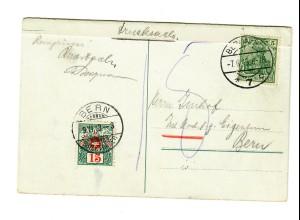 1913 Ansichtskarte Berlin Schloßplatz als Drucksache nach Bern, Taxe