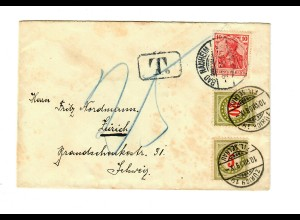 Brief 1909 von Bad Nauheim nach Zürich, Taxe