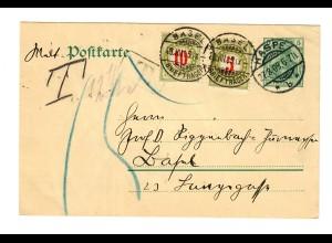 Ganzsache aus Haspe 1909 in die Schweiz mit Nachgebühr/Taxe