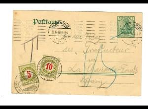 Ganzsache aus Dortmund nach La Chaux de Fonds mit Taxe 1910