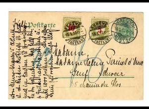 Ganzsache aus Dresden 1910 nach Genf mit Taxe