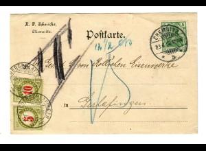 Postkarte aus Chemnitz nach Gerlafingen/CH mit Taxe 1908
