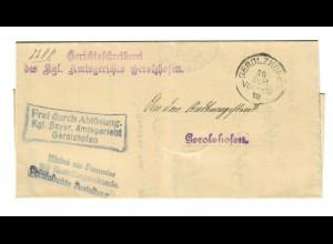Brief 1918 Gerolzhofen, Frei durch Ablösung, kgl. bayr. Amtsgericht