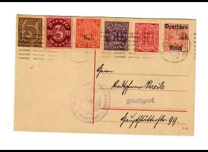 Ganzsache evang. Dekanat Stuttgart 1922