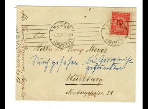 Brief 4.3.1924 von Hagen nach Würzburg