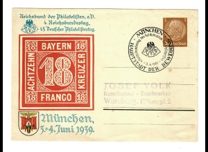 Ganzsache 1939 München, Philatelistentag