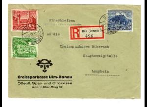 Einschreiben Ulm 1939 nach Laupheim