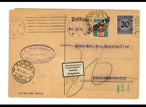 Postkarte Würzburg 1924 nach Zürich, Annahme verweigert, Taxe