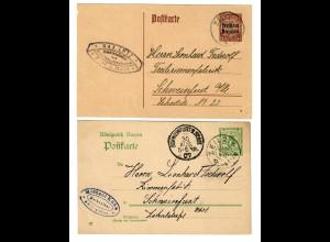 2x Ganzsache 1907 Zeil nach Schweinfurt