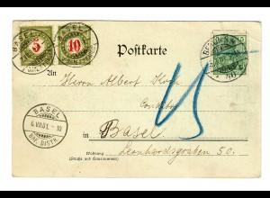 Ansichtskarte Bismarck Denkmal Berlin nach Basel 1901, Taxe