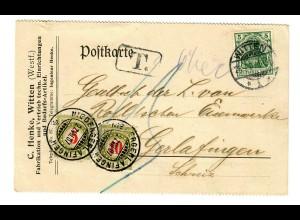Postkarte 1907 Witten nach Gerlafingen, Taxe