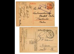 2x Feldpostkarte/Postkarte, Bahnpost Frankfurt/Karlsruhe/Basel 1917