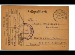 1915 Feldpostkarte Münster/Gent nach Karlsruhe