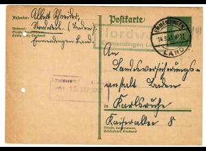 Ganzsache 1931 Emmendingen/Nordweil nach Karlsruhe