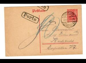 Ganzsache 1919 Freiburg nach Karlsruhe, Nachporto