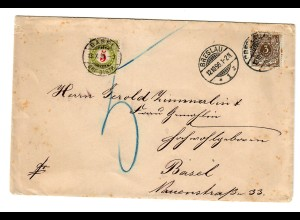 Brief 1896 Breslau nach basel mit Taxe