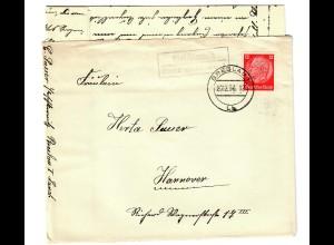 Brief aus Breslau Land mit Agenturstempel Paschterwitz 1936 nach Hannover