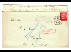 Brief aus Breslau mit Agenturstempel Paschterwitz 1936 nach Hannover, Nachgebühr