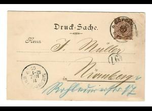 Postkarte Drucksache Göppingen, Wasch- Wichsefabrik1900 nach Nürnberg