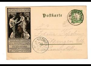 Nürnberg Ganzsache Jubiläums-Landes-Ausstellung 1905 nach Kitzingen