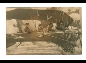Ansichtskarte Feldpost Flugzeug als K. Württ. Bahnpost gelaufen 1915 - Karlsruhe