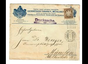 Drucksache Holzarbeiten 1909 von München, Ortsbrief