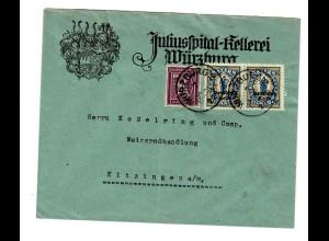 Juliusspital Kellerei Würzburg 1922 an Weingroßhandlung Kitzingen
