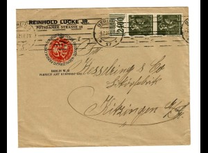 Berlin nach Kitzingen: Bandestempel mit Datum 1923 und 1924