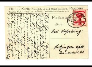 Postkarte Eisengießerei Rippenberg, Bahnpost Seckach-Miltenberg 1919