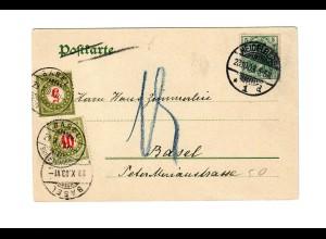 Ansichtskarte Heidelberg 1903 nach Basel mit Nachgebühr/Taxe