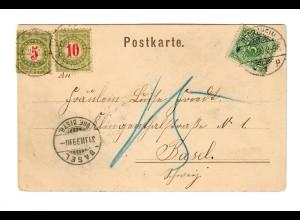 Gruß aus Pforzheim, Ansichtskarte 1899, Kaiserdenkmal nach Basel mit Taxe