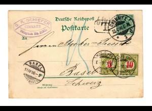 Ganzsache Chemnitz 1896 nach Basel, Taxe