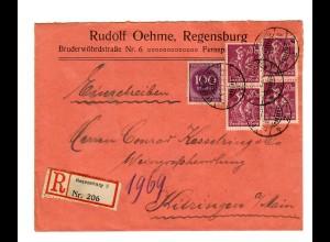 Einschreiben Regensburg nach Kitzingen 1923