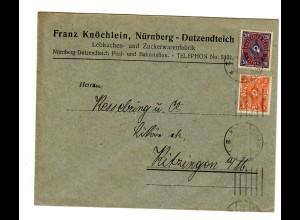 Nürnberg, Lebkuchen und Zuckewaren 1923 nach Kitzingen