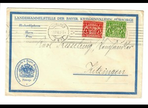 München 1916: Landessammelstelle der bayer. Kriegsinvaliden Fürsorge - Kitzingen