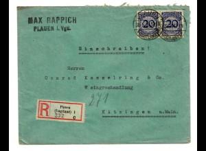 Plauen i. Vogtland, Einschreiben 1924 nach Kitzingen