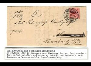 Gerichtssache, 1902 Neunburg nach Marienwerder, nach Bearbeitung zurückgesandt