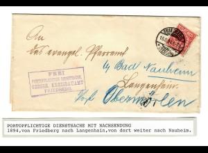 Portopflichtige Dienstsache mit Nachsendung 1894 Friedberg-Langenhain-Nauheim