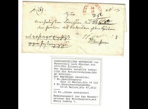 Portobestellter Wertbrief Wasserburg-München, Briefpapier König Ludwig I,