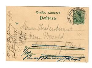 Ganzsache Bahnpost Berlin-Hannover 1901 nach Schöneberg, Weiterleitung