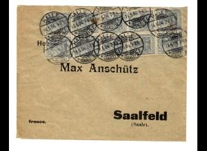 Brief aus Halle 1904 nach Saalfeld, schöne MeF