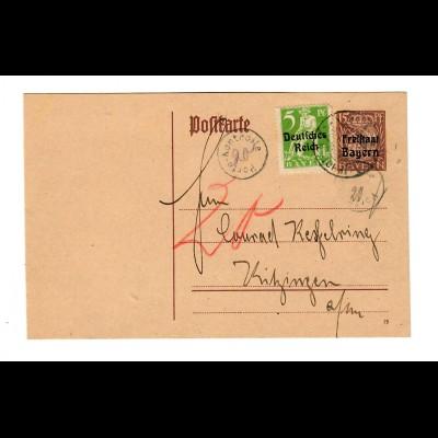 Ganzsache 1920 nach Kitzingen, Post Kontrolle