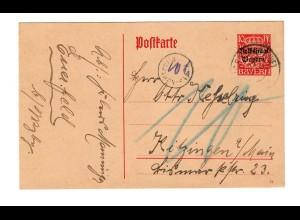 Ganzsache 1919 nach Kitzingen mit Nachgebühr, Post Kontrolle