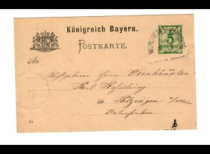Ganzsache Postkarte 1894 Wunstedel Bahnhof nach Kitzingen