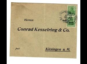 Bahnpost Brief 1921 nach Kitzingen