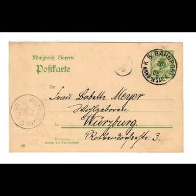 Ganzsache Postkarte Bahnpost Erlangen, Saale nach Würzburg 1905
